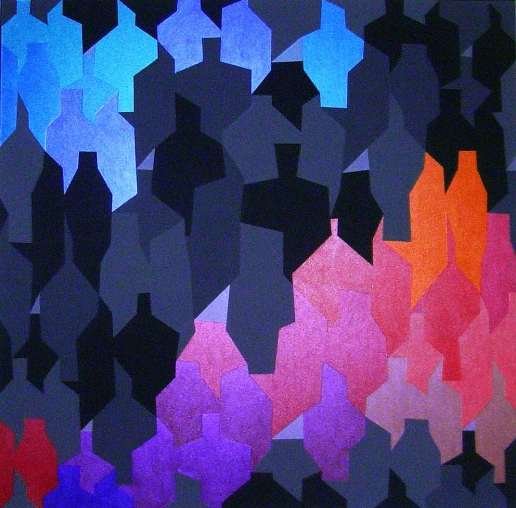 October uprise     2013     Acryl (metallic Acryl und Abstufungen von grau)      100x100cm
