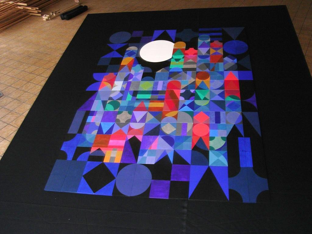 2001 Nacht     2012     Acryl auf Holz     120x160 cm   (192 Holztafeln á 10x10 cm; waagrecht, beweglich