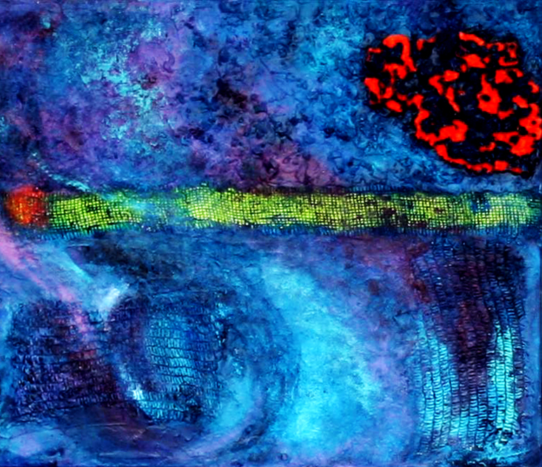 Evolution II |   2012  |  Acryl, Gewebe, Sägemehl, Styroporflocken  |  80x60 cm