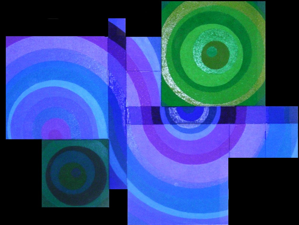 In Bewegung II (circular)      2011     Acryl, Mohn, Senf, Sande    montiert aus 10 Teilbildern     170x130 cm
