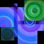 In Bewegung II (circular)  |   2011  |  Acryl, Mohn, Senf, Sande |  montiert aus 10 Teilbildern  |  170x130 cm