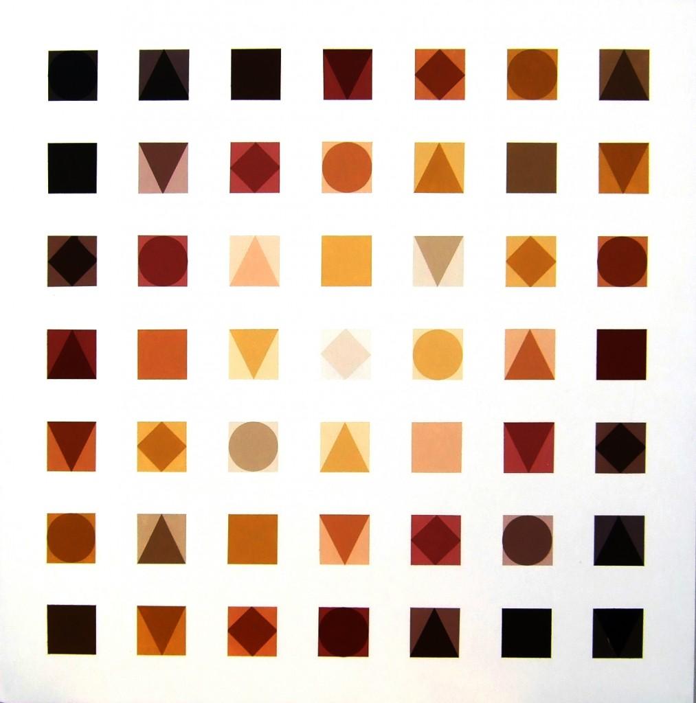 49 Quadrate braun vor weiß   2xxx   Acryl   100x100 cm