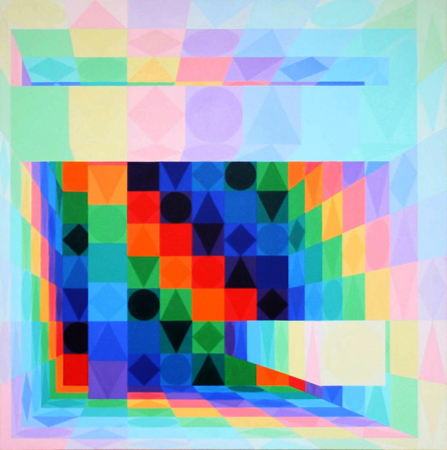 Säulenhalle   bunt 2   2010   Acryl   100x100 cm