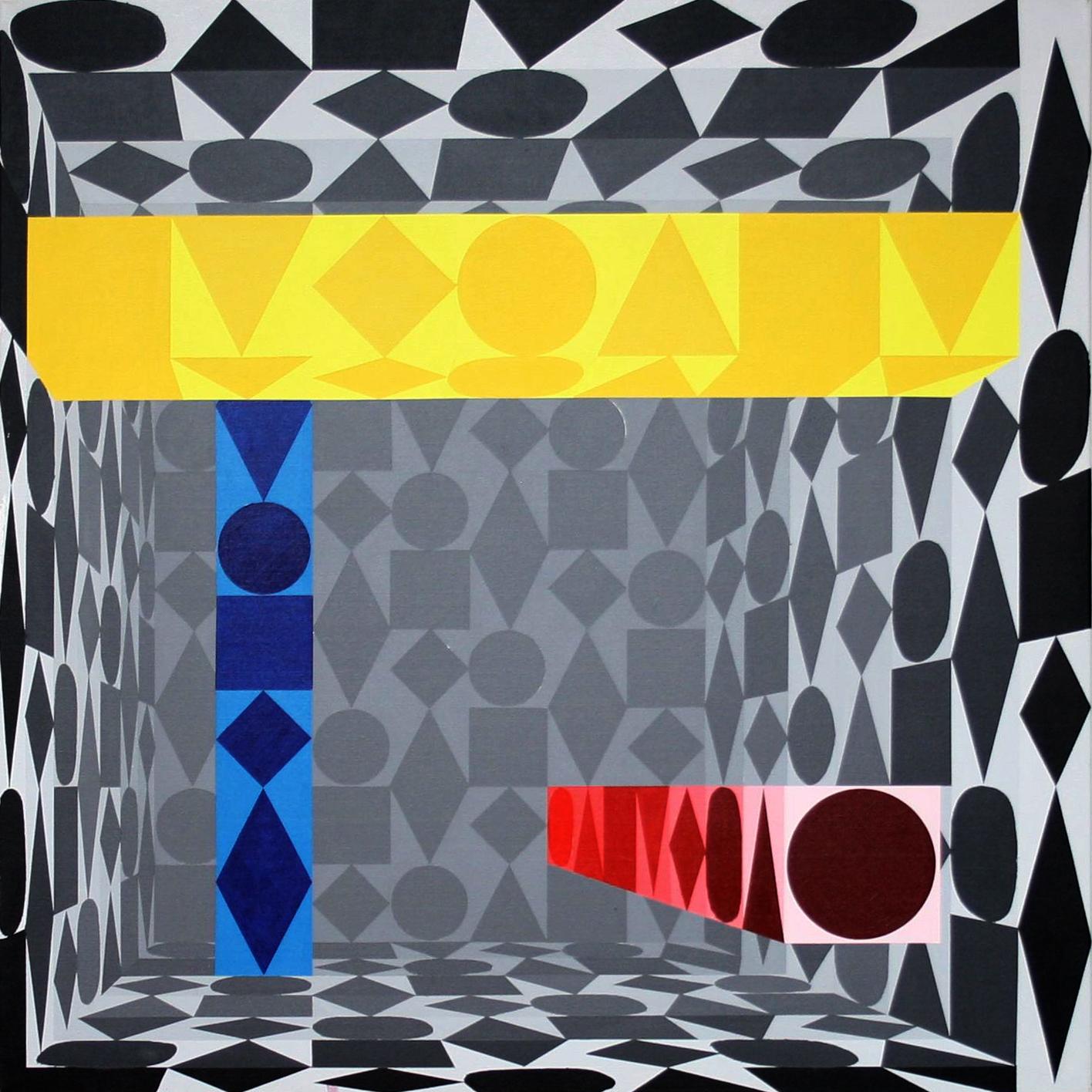 Säulenhalle | grau | 2009 | Acryl | 100x100 cm (16 Abstufungen von grau)