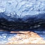 Zeit     2012     Acryl, Stoff, Füllstoff, Metallfolie     40x20cm